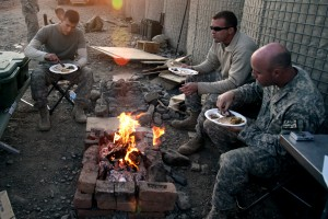 U.S. Army soldiers eat Thanksgiving meal in Afghanistan, 2009
